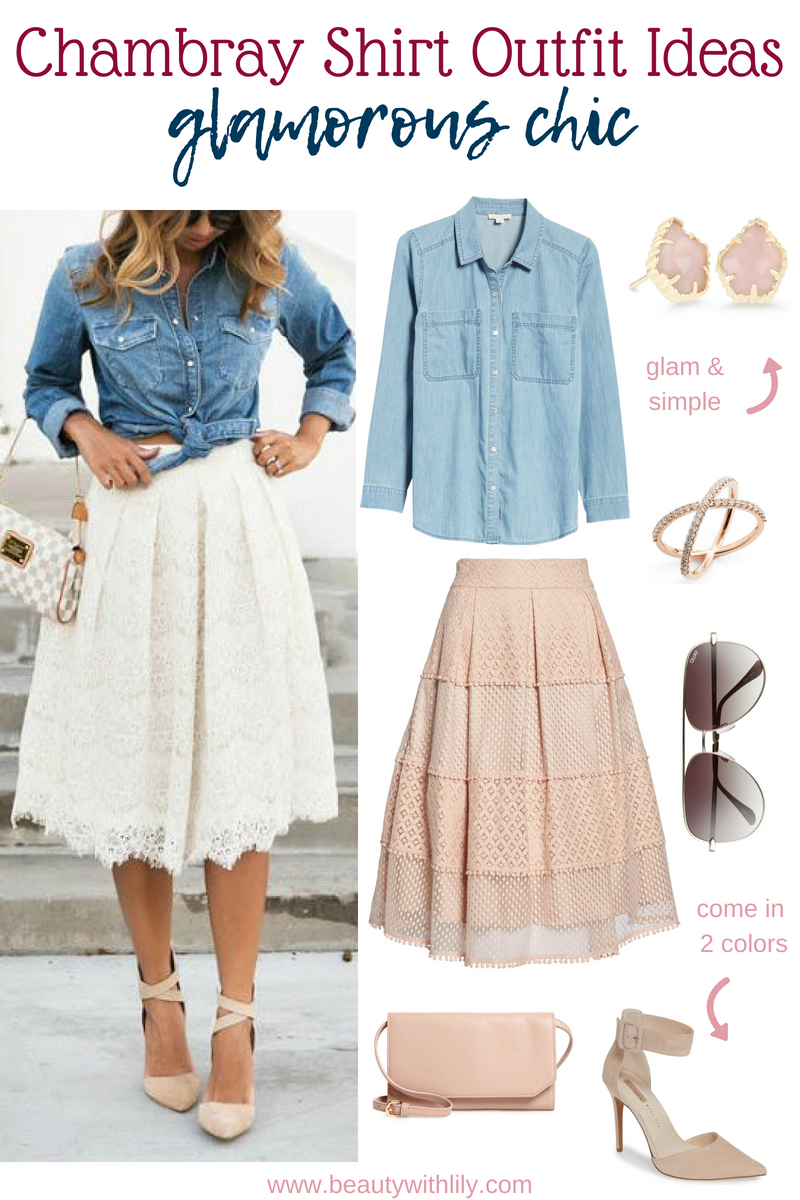 Chambray Shirt Outfit Ideas // Chambray Outfit Ideas // Fall Outfit Ideas // Glam Outfit Ideas // Easy Glam Outfits // Chic Outfits | Beauty With Lily