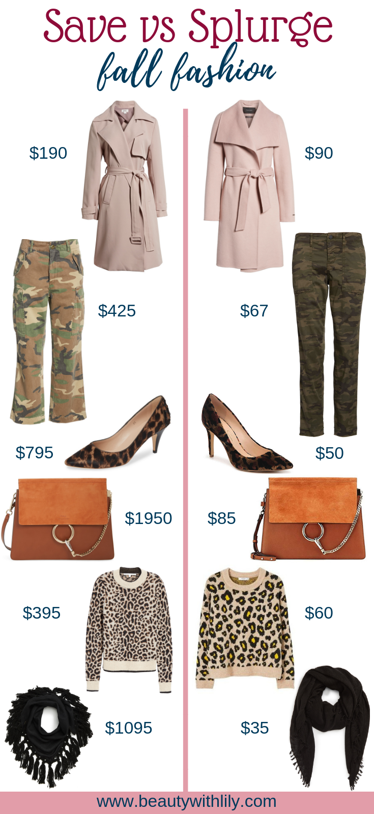 Fall Save vs Splurge // Fall Fashion // Affordable Fall Fashion // Fall Outfits // Outfit Inspiration | Beauty With Lily
