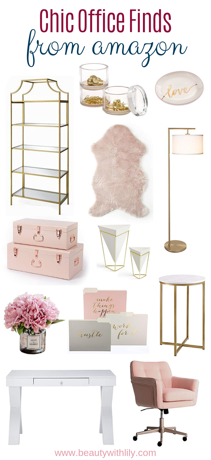 Chic Office Finds // Affordable Home Office Decor // Home Office Ideas // Home Decor // Girly Home Decor // Blush Decor Ideas | Beauty With Lily