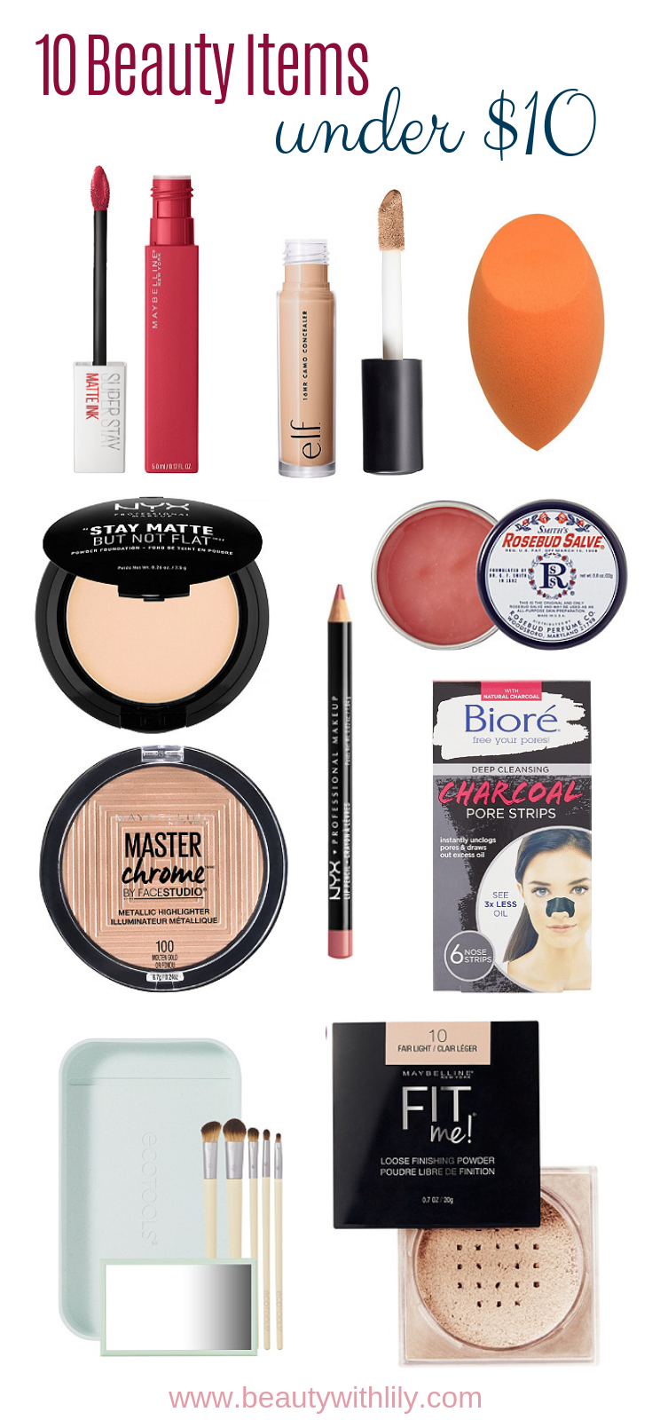 10 Beauty Items Under $10 To Try // Affordable Beauty // Affordable Makeup // Drugstore Makeup   Beauty With Lily