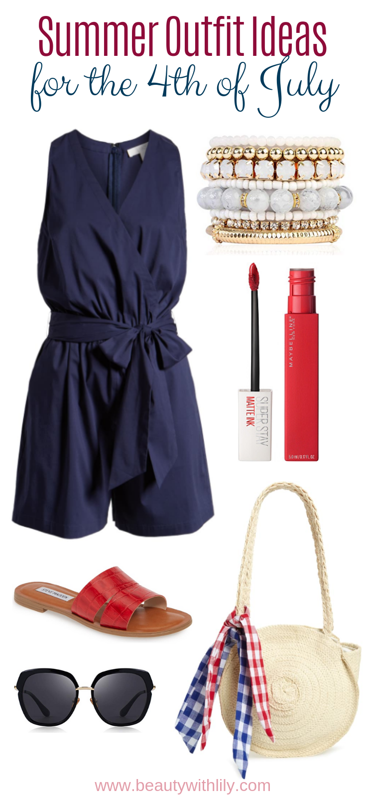4th of July Outfit Inspiration // July 4th Fashion // Red White & Blue Outfits // Patriotic Outfit Ideas // Summer Outfit Ideas   Beauty With Lily
