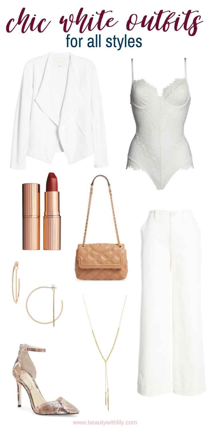 Chic White Outfit Ideas // All White Outfit Inspiration // Winter White Outfits // Valentine's Day Outfit Ideas // Romantic Outfit Ideas // Date Night Outfit Ideas | Beauty With Lily #outfitinspiration #whiteoutfits