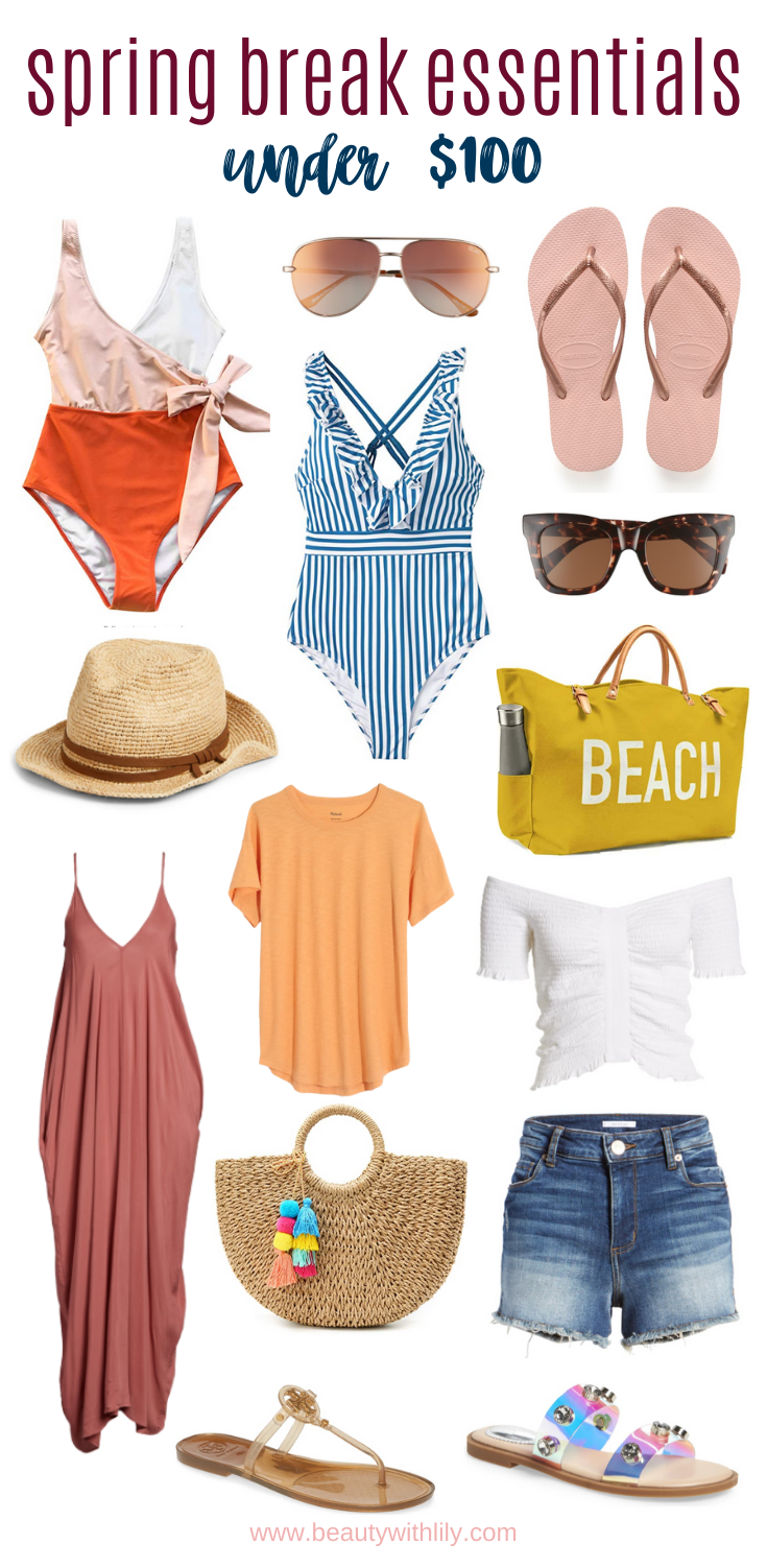 Spring Break Essentials Under $100 // Spring Fashion // Spring Break Fashion // Spring Outfit Ideas // Summer Fashion // Summer Outfit Ideas // Spring Fashion Essentials // Summer Fashion Essentials | Beauty With Lily #springbreak #springbreakessentials #fashionessentials